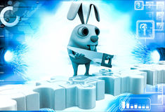 3d man standing on puzzles illustration Stock Images