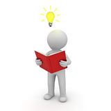 3d man standing and reading a book with idea bulb above his head. Over white background. 3D rendering Stock Image