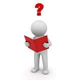 3d man standing and reading a book with red question mark over white background Royalty Free Stock Photo