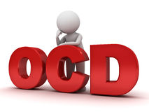 3d man standing with red ocd text or Obsessive compulsive disorder Stock Photo