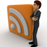 3d man standing beside rss feed concept Royalty Free Stock Images