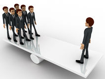 3d man standing on seesaw concept Royalty Free Stock Photos