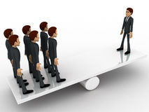 3d man standing on seesaw concept Stock Image