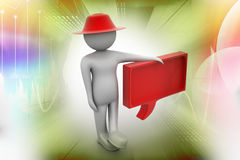 3d man standing by a speech bubble. In color background Royalty Free Stock Photography