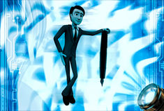 3d man standing on support of green tip foutain pen illustration Royalty Free Stock Images