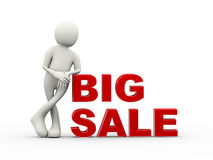 3d man standing with text big sale. 3d illustration of standing with big sale word. 3d human person character and white people Royalty Free Stock Image