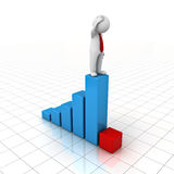 3D Man standing on top of growth business graph and looking at red bar chart. Over white background with reflection Royalty Free Stock Images