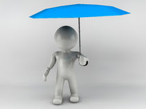 3D man standing with an umbrella. 3D man standing with an blue umbrella Royalty Free Stock Photo