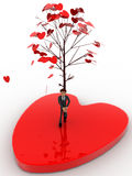 3d man standing under love tree concept Royalty Free Stock Photography