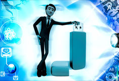 3d man standing with USB pen drive illustration Stock Photo