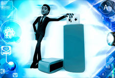 3d man standing with USB pen drive illustration Royalty Free Stock Image