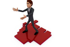 3d man standing welcoming concept Royalty Free Stock Images