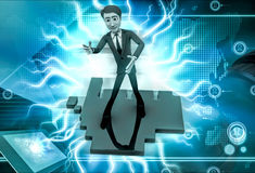 3d man standing welcoming  illustration Stock Image