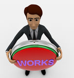 3d man standing with works text in round shape concept Royalty Free Stock Photography