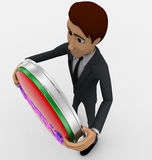 3d man standing with works text in round shape concept Royalty Free Stock Photo