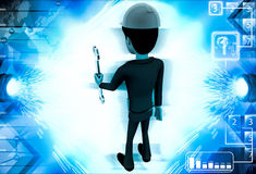 3d man standing with wrench in hand illustration Royalty Free Stock Photos