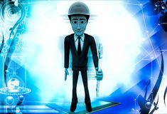 3d man standing with wrench in hand illustration Stock Images