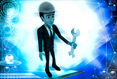 3d man standing with wrench in hand illustration Stock Image