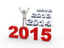 3d man standing on year 2015. 3d illustration of man standing on new year 2015. 3d human person character and white people Stock Photography