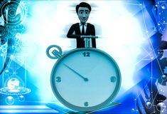 3d man standing with yellow alarm clock illustration Royalty Free Stock Images
