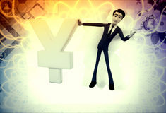 3d man standing by yen illustration Stock Photos
