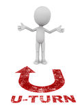 U turn. 3d man stands in confusion over a u turn label on floor, in red color, concept of backing off Stock Photography