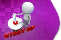 3d man start up illustration Royalty Free Stock Photography