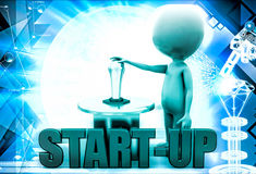 3d man with start up lever button illustration Stock Photo