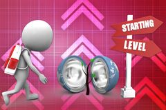 3d man starting level illustration Stock Images