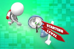 3d man starting level illustration Stock Photography