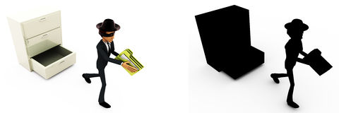 3d man stealing files from drawer concept collections with alpha and shadow channel Stock Image