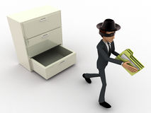 3d man stealing files from drawer concept Royalty Free Stock Photo