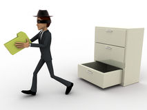 3d man stealing files from drawer concept Royalty Free Stock Photos