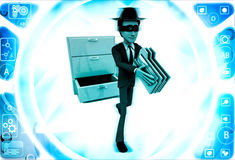 3d man stealing files from drawer illustration Royalty Free Stock Photos