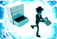 3d man stealing files from drawer illustration Stock Photos