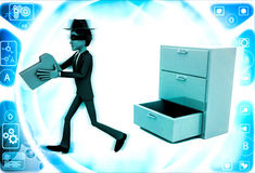 3d man stealing files from drawer illustration Stock Photo