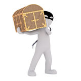 3d man stealing a treasure chest Royalty Free Stock Photos