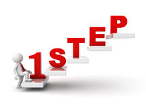 3d man stepping up for success. First step abstract concept over white background Stock Photo