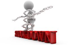 3d man stock down concept Royalty Free Stock Photo