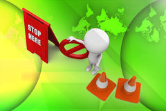 3d man stop here illustration Royalty Free Stock Photos