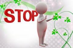 3d man stop  illustration Stock Photography
