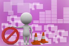 3d Man With Stop with traffic cones 3d illustration Stock Photo
