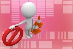 3d Man With Stop with traffic cones 3d illustration Royalty Free Stock Photography