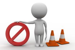 3d Man With Stop with traffic cones 3d illustration Royalty Free Stock Photos
