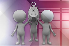 3d man stop watch illustration Royalty Free Stock Image