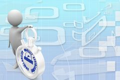 3d man with stop watch Illustration Royalty Free Stock Image