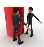 3d man stoping from vending machine concept Royalty Free Stock Photography