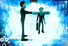 3d man stopping another man from going illustration Stock Photos