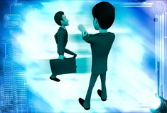 3d man stopping another man from going illustration Stock Images