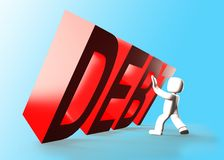 3d man stopping red DEBT word falling, 3D illustration. 3d man stopping the red DEBT word falling, 3D illustration Stock Photo